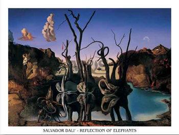 Reflection Of Elephants  Kunstdruk