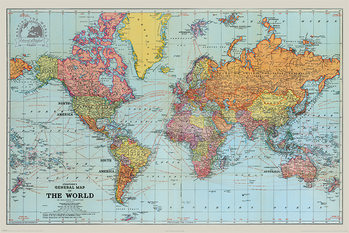 Póster  Stanfords General Map Of The World - Colour