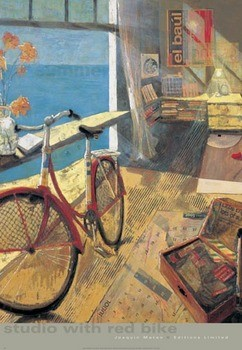 Studio with Red Bike Kunstdruk