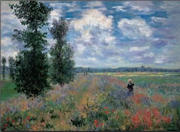 The Poppy Field in Summer near Argenteuil Kunstdruk