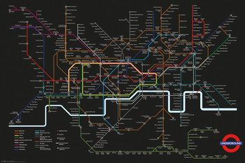 Poster Transport For London - Black Map