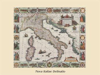 Vintage kaart van Italië Kunstdruk