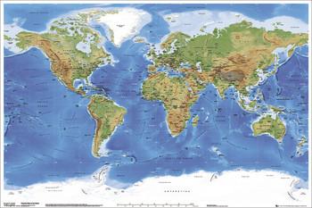 Wereldkaart - fysieke kaart van de wereld Poster