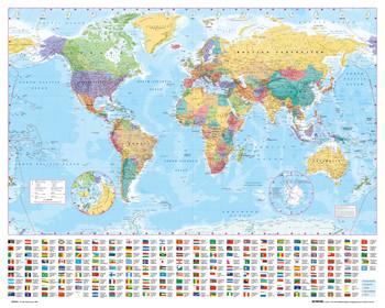 Wereldkaart met vlaggen Poster
