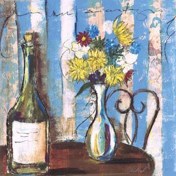 Wine & Flowers I Kunstdruk