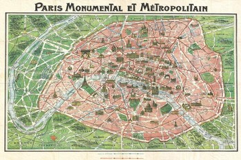 Art nouveau Paris map 1920 Poster