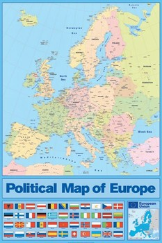 Harta politica a Europei Poster