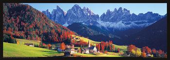 ITALY - Dolomity, Saas Rigais na jaře Poster