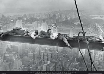 New York - asleep on girder Poster
