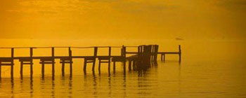 Pier With Orange Sky Reproducere