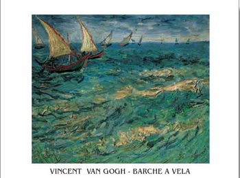 Seascape at Saintes-Maries - Fishing Boats at Sea, 1888 Reproducere