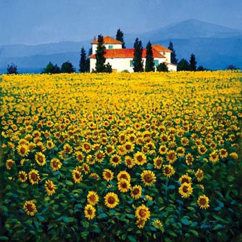 Sunflowers Field Reproducere
