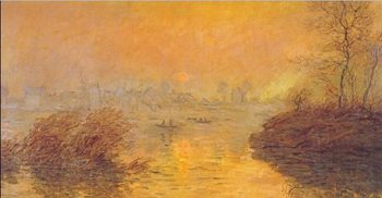 Sunset on the Seine at Lavacourt (part) Reproducere