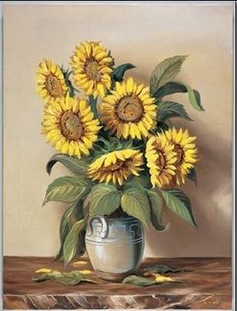 Vase of Sunflowers Reproducere