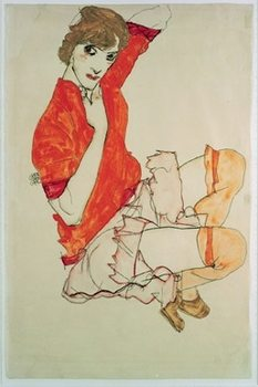 Wally in Red Blouse, 1913 Reproducere