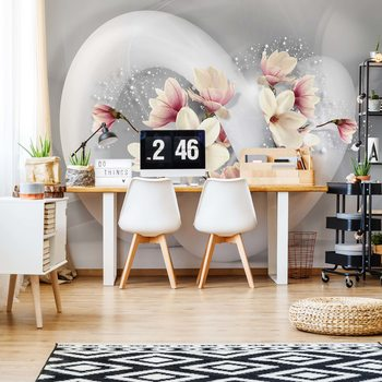 3D Structure Flowers White And Grey Poster Mural XXL