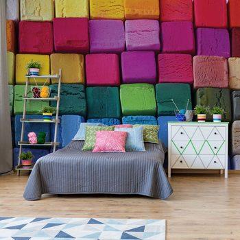 3D Wood Blocks Multicoloured Poster Mural XXL