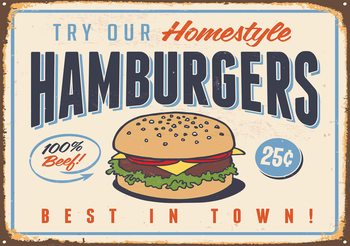 Affiche Rétro Hamburgers Poster Mural XXL