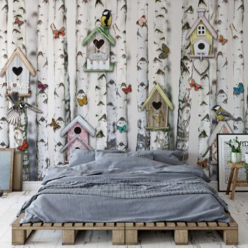Birch Trees And Birdhouses Vintage Chic Poster Mural XXL