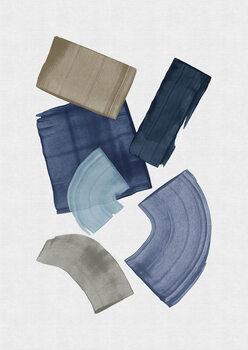 Blue & Brown Paint Blocks Poster Mural XXL