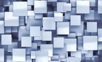 Carré abstrait Bleu moderne Poster Mural XXL