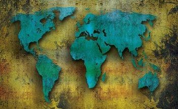 Carte du monde sur le bois Poster Mural XXL