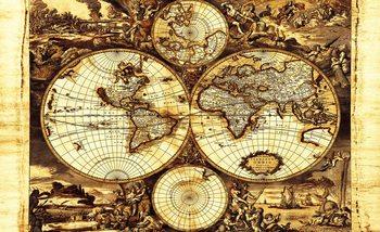 Carte du Monde Vintage Poster Mural XXL