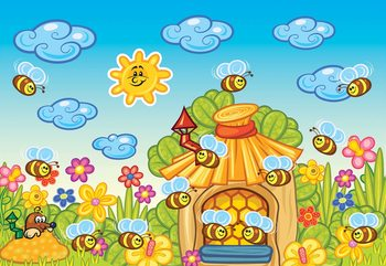 Cartoon Bees And Sunshine Poster Mural XXL