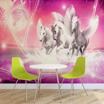Cheval à ailes Pegasus Rose Poster Mural XXL