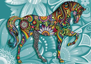 Cheval Fleurs Couleurs Abstraites Poster Mural XXL