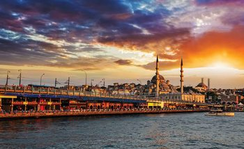 Coucher de Soleil Ville d'Istanbul Poster Mural XXL
