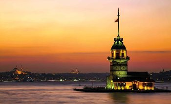 Coucher de Soleil Ville d'Istanbul Urbain Poster Mural XXL