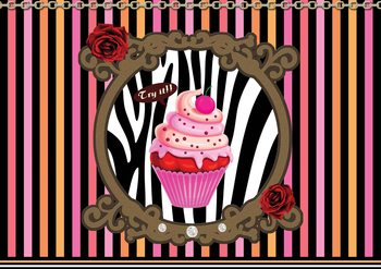 Cupcake Rayés Poster Mural XXL