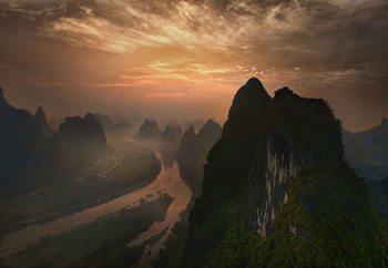 Dawn At Li River Poster Mural XXL