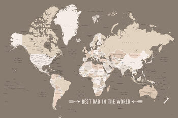 Earth tones world map with countries Best dad in the world Poster Mural XXL