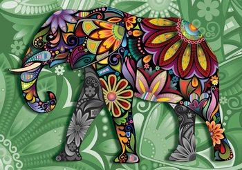 Éléphant Fleurs Abstrait Couleurs Poster Mural XXL