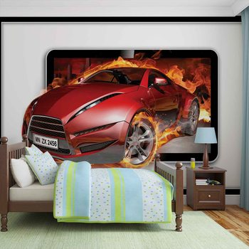 Flammes Voitures Poster Mural XXL