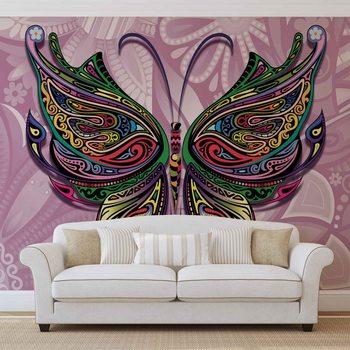 Fleurs Papillons Couleurs Abstraites Poster Mural XXL