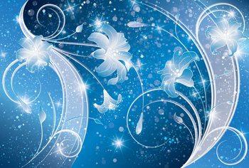 Floral Abstrait Bleu et Argenté Poster Mural XXL