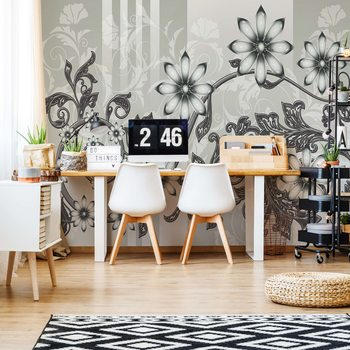 Floral Pattern With Swirls Poster Mural XXL