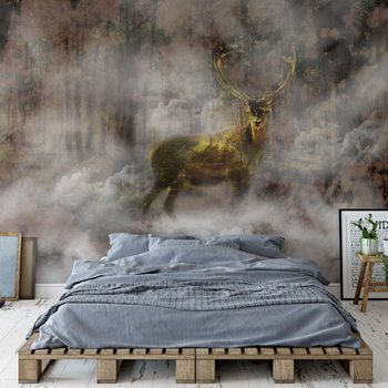 Forest Stag In The Mist Poster Mural XXL