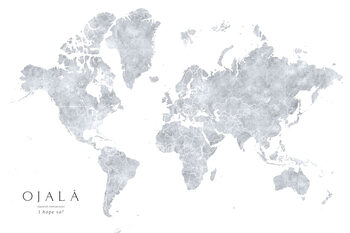 Grayscale watercolor world map, I hope so Poster Mural XXL