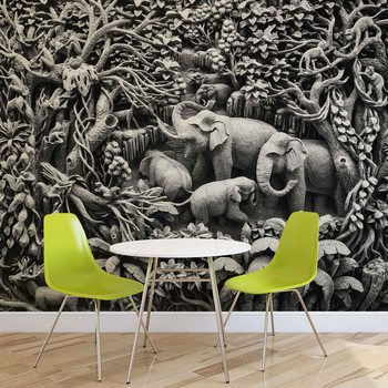 Jungle des éléphants Poster Mural XXL