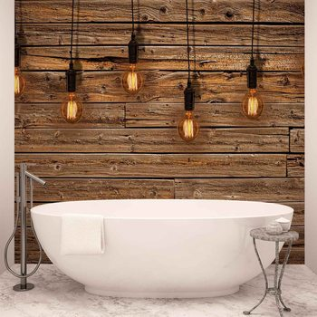 Light Bulbs Wood Plankets Poster Mural XXL