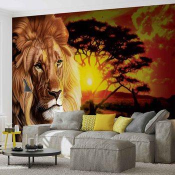 Lion Coucher de Soleil Afrique Nature Arbre Poster Mural XXL