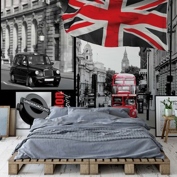 London Black And White Poster Mural XXL
