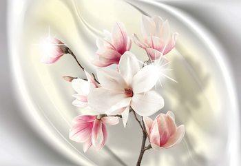 Magnolia Modern Floral Design Yellow Poster Mural XXL