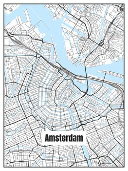 Map of Amsterdam Poster Mural XXL