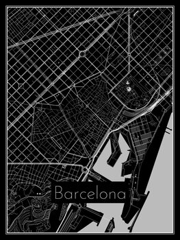 Map of Barcelona Poster Mural XXL
