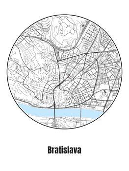 Map of Bratislava Poster Mural XXL